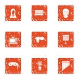Icônes de représentation d'écran réglées, style grunge illustration stock