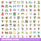 100 icônes de ressort réglées, style de bande dessinée illustration libre de droits