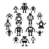 Icônes de robot réglées, style simple illustration stock