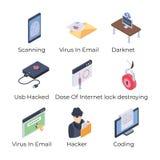 Icônes de sécurité d'Internet réglées illustration de vecteur
