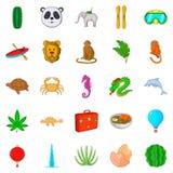 Icônes de safari réglées, style de bande dessinée Photo stock