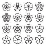 Icônes de Sakura d'isolement sur un fond blanc Illustration de Vecteur