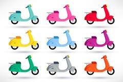 Icônes de scooter réglées illustration stock