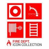 Icônes de secours du feu réglées Signes de sécurité incendie : bouche d'incendie, sortie de secours, bouton d'alarme d'incendie,  illustration stock