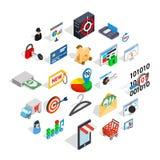 Icônes de service en ligne réglées, style isométrique Illustration Stock