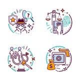 Icônes de service et de justice d'avocat Cour et loi Illustration de dessin animé de vecteur illustration libre de droits