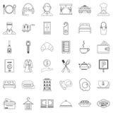 Icônes de service hôtelier réglées, style d'ensemble illustration de vecteur