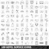 100 icônes de service hôtelier réglées, style d'ensemble illustration libre de droits