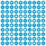 100 icônes de service postal réglées bleues illustration libre de droits