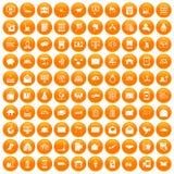 100 icônes de service postal réglées oranges illustration stock
