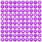 100 icônes de service postal réglées pourpres illustration libre de droits