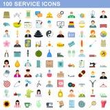 100 icônes de service réglées, style plat illustration libre de droits