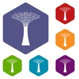 Icônes de Singapour Supertree réglées illustration stock