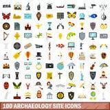 100 icônes de site d'archéologie réglées, style plat illustration libre de droits