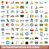 100 icônes de site de transport réglées, style plat illustration stock