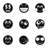 Icônes de sourire d'Emoji réglées, style simple illustration de vecteur