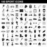 100 icônes de sport réglées, style simple illustration libre de droits