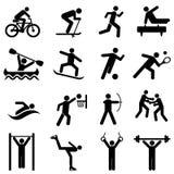 Icônes de sports, de forme physique, d'activité et d'exercice Images libres de droits