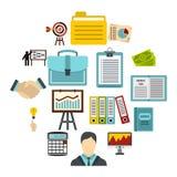 Icônes de stratégie commerciale réglées, style plat Image stock