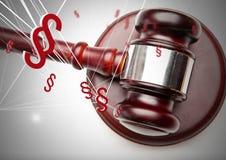 icônes de symbole de la section 3D et marteau de justice Images stock