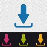 Icônes de téléchargement - illustration colorée de vecteur - d'isolement sur le fond transparent Photo libre de droits