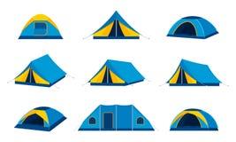 Icônes de tente de camping de vecteur Photo stock