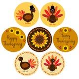 Icônes de thanksgiving dans des cadres de cercle Photographie stock