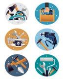 Icônes de Tools Realistic Compositions de charpentier illustration de vecteur