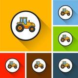 Icônes de tracteur avec la longue ombre Images stock