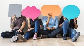 Icônes de transport de bulle de la parole de personnes Photographie stock