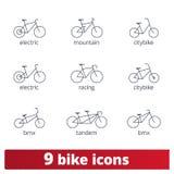 Icônes de vélo Ensemble de vecteur de ligne mince signes de vélo illustration de vecteur