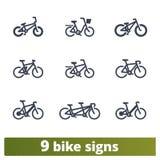 Icônes de vélo Ensemble de vecteur de signes solides de vélo illustration de vecteur