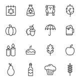 Icônes de vacances de jour de thanksgiving Photographie stock libre de droits