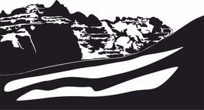 Icônes de vallée de montagne de neige, logo pour le concept mobile et apps de Web illustration de vecteur