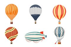 Icônes de vecteur chaud de ballon à air et de dirigeable réglées Voyage à air chaud montant en ballon de bande dessinée d'aventur illustration stock