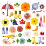 Icônes de vecteur de chute, éléments de conception sur le fond blanc Illustration plate de récolte, de nourriture, d'accessoires  illustration libre de droits