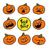 Icônes de vecteur d'émotion de potiron de Halloween illustration de vecteur