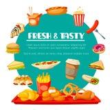 Icônes de vecteur d'aliments de préparation rapide pour le restaurant de prêt-à-manger Photo libre de droits