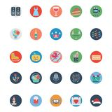 Icônes de vecteur d'illustration colorée de partie et de célébration illustration stock