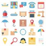 Icônes de vecteur d'isolement par couleur de la livraison de logistique illustration libre de droits