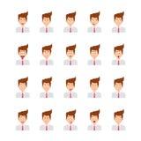Icônes de vecteur de Face Expressions Flat d'homme d'affaires réglées Illustration Libre de Droits