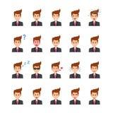 Icônes de vecteur de Face Expressions Flat d'homme d'affaires réglées Illustration Stock