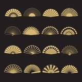 Icônes de vecteur de fan de main d'or Fan de main d'isolement sur le fond noir Illustration de Vecteur