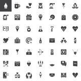 Icônes de vecteur de jour du ` s de Valentine réglées Images stock