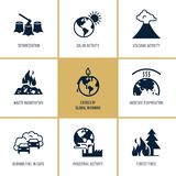 Icônes de vecteur de réchauffement global sur le thème des problèmes d'écologie de notre planète dans son ensemble pour des prése illustration stock