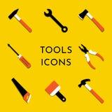 Icônes de vecteur réglées avec le marteau, extracteur de clou, hache, scie, pinces, pinceau, tournevis Les outils à la maison de  illustration stock