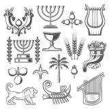 Icônes de vecteur de religion de culture et de judaism de l'Israël illustration stock