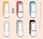 Ic?nes de vecteur de voiture r?gl?es pour le dessin et l'illustration architecturaux illustration stock