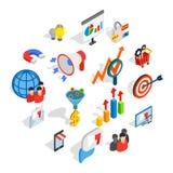 Icônes de vente réglées, style 3d isométrique illustration stock