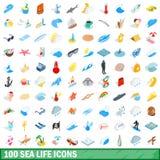 100 icônes de vie marine réglées, style 3d isométrique illustration de vecteur